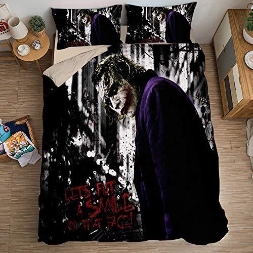 EVDAY The Joker Duvet Cover Set for Teenagers 3D Design Bed Set 2019 Popular Movie Clown Bedding 3Piece Including 1Duvet Cover,2Pillowcases Twin Size