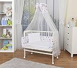 WALDIN Cuna colecho para bebé con equipamiento completo, lacado en blanco, 14 modelos a elegir a elegir,color textil blanco/estrellas gris-rosa