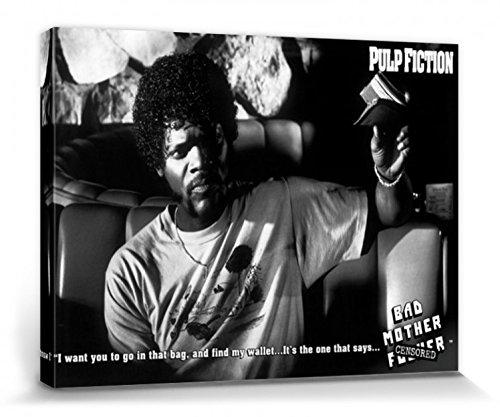1art1 Pulp Fiction - Cerchi Mio Portafoglio Bad Mother F.ker Stampa su Tela (80 x 60cm)