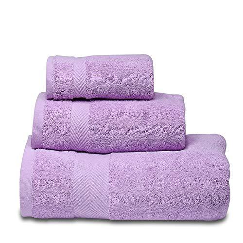 Heliansheng Juego de Toallas Suaves, Toalla de baño de algodón Puro, Hotel de Calidad de baño súper Absorbente -Purple-3pcs