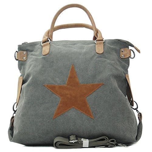 Vain Secrets Sternen Shopper Damen Handtasche mit Schulterriemen (Grau)