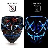 🎭 【Purge mask】 Il design di questa maschera viene dal giorno di paga 2. È realizzato in plastica resistente e di alta qualità. Utilizza materiale el luminescente, che è più luminoso e più efficiente dal punto di vista energetico rispetto alle normali...