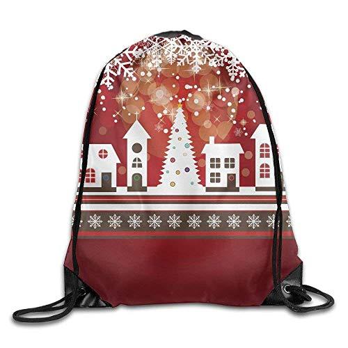 Mochila con cordón, Mochila Deportiva, Mochila de Viaje,Holidays Themed Gingerbread Houses Merry Xmas Tree Lights and Snowflakes Image Bags Ball Backpack