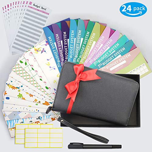 Cash Envelope System Wallet, All-in-One Cash Envelop Wallet with 24 Waterproof Money Budget Envelopes & 24 Budget Sheets & 24 Labels & 1 Marker, Envelope System for Cash Budgeting, Saving Money