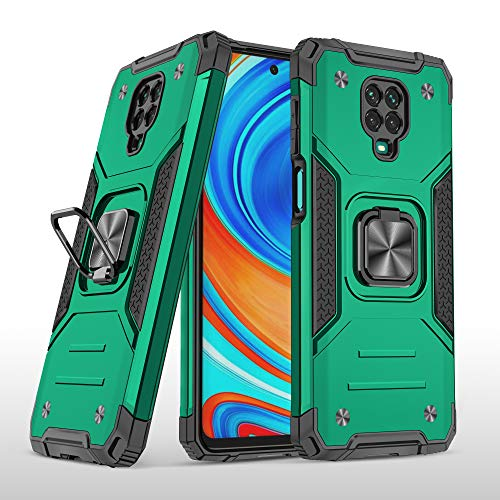 SORAKA Funda para Xiaomi Redmi Note 9 Pro con Anillo,Carcasa a Prueba de Golpes,Borde de Silicona Suave,Cubierta Trasera rígida de PC con Placa de Metal para Soporte magnético para teléfono móvil