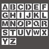 Plantilla Letras de Plástico,26 Plantillas de Alfabeto Spray Stencil Estarcido Manualidades Paredes Pintar para el Aprendizaje, Pintura, Scrapbooking DIY Impresión de Fuentes Blanco Lechoso