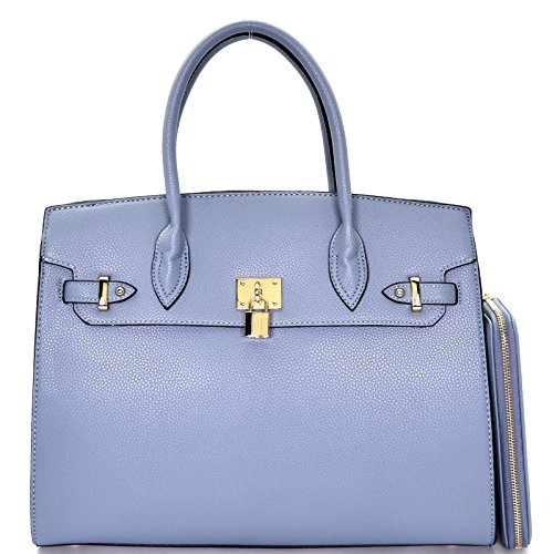 New! Deluxity Large Carry-all Padlock Accent Structured Tote + Wallet- Blue