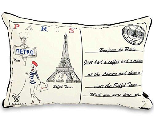 Lettre au Coussin boudoir Paris 60 cm x 40 cm avec filet Bounce Back
