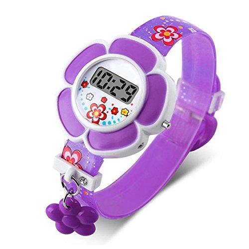 GCDN Kinderuhren Kinderuhr Silikon Cartoon Digital Armbanduhr Für Jungen Mädchen Schöne Blume Nette Uhren Geburtstagsgeschenk für Kinder