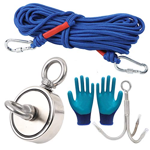 500lbs Strong Fishing Magnet Kit N52 Sea River Metal Recovery Detect 20M Rope