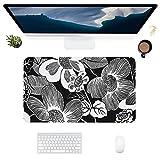HUBNYO Alfombrilla de escritorio de piel con flores blancas y negras y blancas, superficie lisa, fácil de limpiar, resistente al agua, protector de escritorio para oficina/juegos en casa