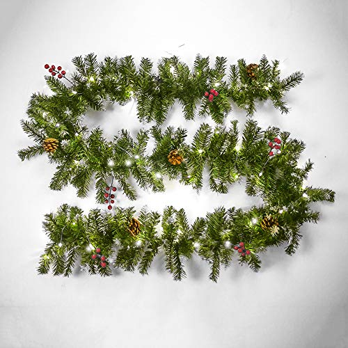 SELMAL Kunstkerstslinger, 8,8 ft verlichte rotan open haard krans met LED-snoerverlichting feestdagen, artificial decoratie voor trappen muur party bruiloft indoor outdoor decoraties