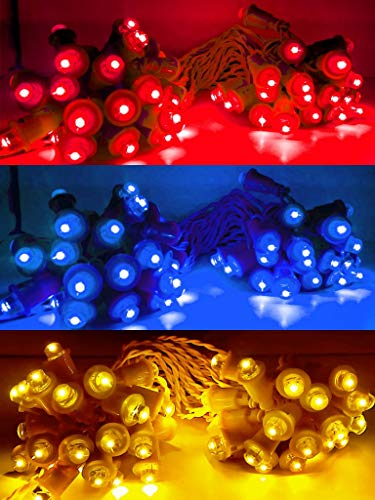 Daylight India Indian Fancy Different Colour LED Series Light (Multicolour , 40 ft Long 50 Bulbs Include) - Pack of 3