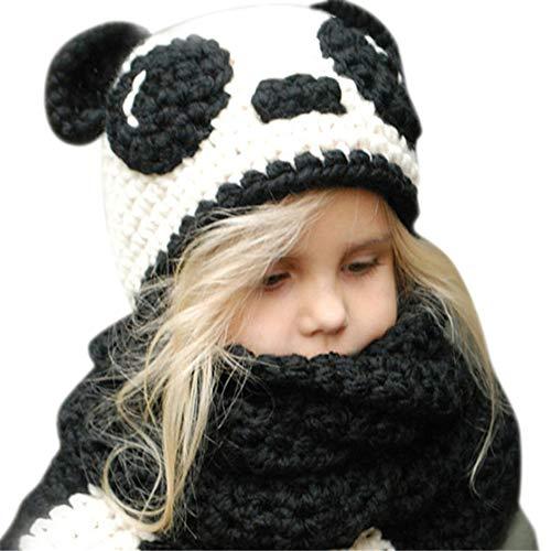 Gestrickte Hüte Baby Kinder Mädchen Jungen Wintermütze Strickmütze Schlupfmütze Winter Mützen mit Schal Hut Beanie Mützen für Herbst Winter (Panda)
