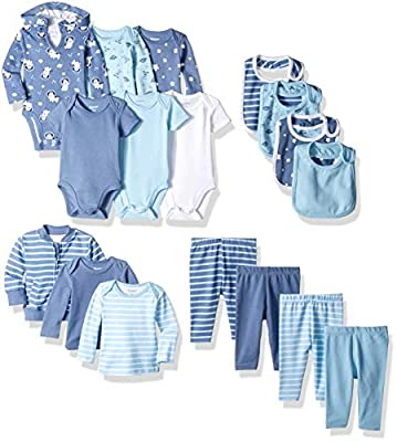 Hanes Ultimate Baby Flexy-17 Piece Cool Weather Essentials Set, Blue Stripe, 0-6 Months