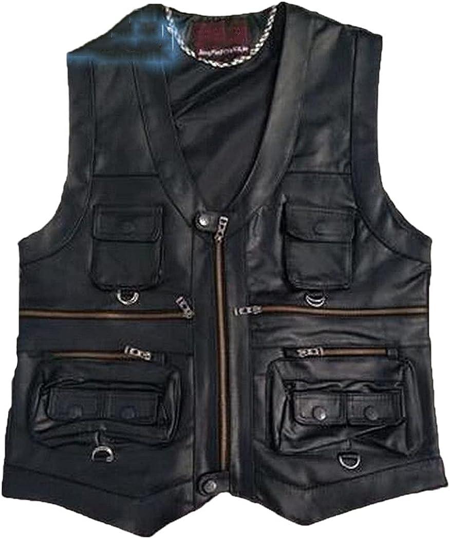 Gentlement Leather Vest Men Slim Leather Vest Sheepskin Leather Vest Waistcoat With Many Pockets