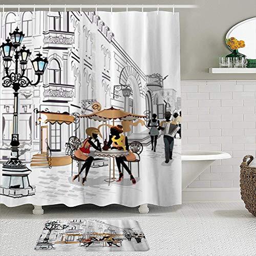 Ensemble de rideaux de douche et de tapis en tissu,Cafe Brown Sketch Girls dans la rue Europe City Restaurant Paris Lantern Design extérieur,Rideaux de bain avec 12 crochets,tapis antidérapants