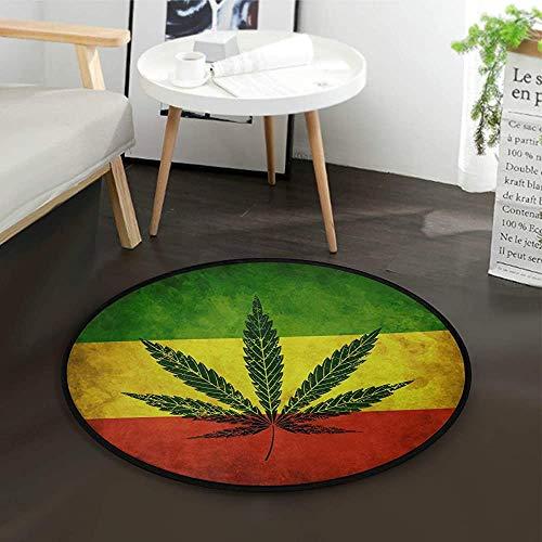 W-WEE Vintage Marihuana Hanf Blätter Runde Teppich für Wohnzimmer Schlafzimmer