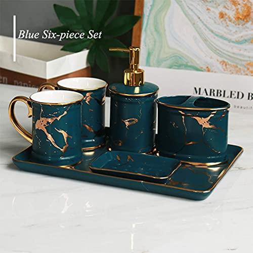 Conjunto de accesorios de baño de cerámica de lujo de 6 piezas, europeo con bandeja, incluye taza de cepillo de dientes, dispensador de jabón, jabonera, titular de cepillo de dientes, c ( Color : D )