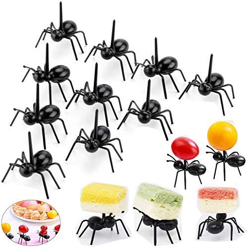 Postre de fruta palillo de dientes Forks Para el hogar Decoración del partido Las hormigas de plástico animales Aperitivo Forks 24 Piezas Negro de cocina tenedores de partido de la barra