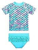 XFGIRLS Bañador de dos piezas de manga corta con protección UV para niñas de 3 meses a 6 años. Verde escamas de pez 3- 6 meses