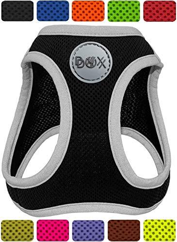 DDOXX Brustgeschirr Air Mesh, Step-In, reflektierend, verstellbar, gepolstert | viele Farben & Größen | für kleine & mittlere Hunde | Hunde-Geschirr Hund Katze Welpe | Katzen-Geschirr | Schwarz, M
