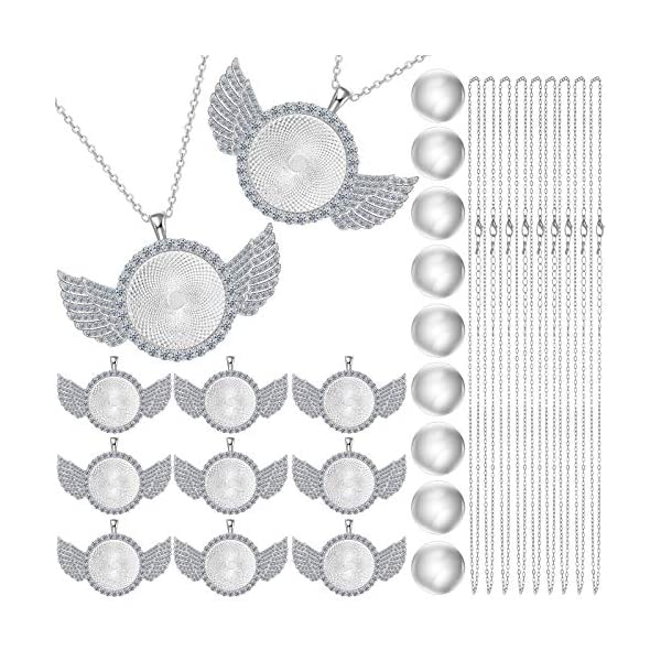 27 Pieces Rhinestone Wing Bezel Pendant Trays and Glass Cabochons and Lobster Clasps...