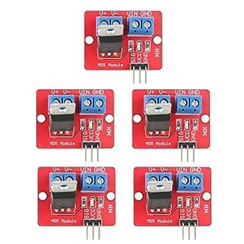Akozon 5個 0-24V IRF520 MOSFETドライバモジュールボタンドライブ