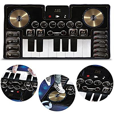 FAO Schwarz Giant Electronic Dance Mat DJ Mixer with Piano Keyboard & Turntable Scratch Pads, Includes Built-in Soundtracks & Vocal & Percussion Sound Effects for Composing & Recording Your Own Music by MerchSource