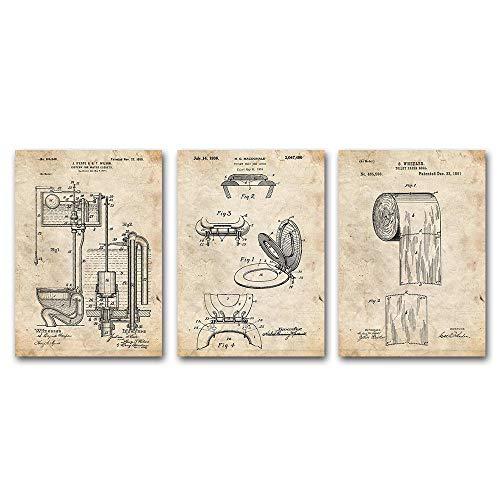 Diseño de inodoro Asiento de inodoro Carteles de lona Rollo de papel higiénico Patentes vintage Carteles e...