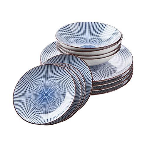 BUTLERS DIM SUM Geschirrset 12-teilig für vier Personen im asiatischen Stil – Geschirrservice in Blau-Weiß - Set aus 4 großen und 4 kleinen Tellern & 4 Schalen