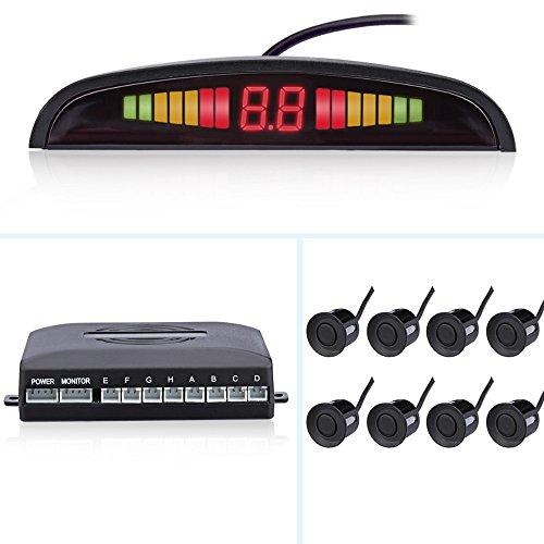 Auto Parktronic écran LED inversée moniteur de parking Radar de sauvegarde Système de détecteur avec 8 capteurs de stationnement