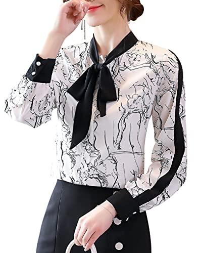DOVWOER Elegante blusa para mujer con lazo, manga larga, botones bajos, cuello alto, camisa para mujer,...