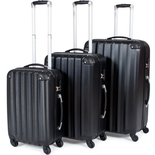 TecTake Trolley valigia valigie set rigido borsa 3 pz. - disponibile in diversi colori - (Nero)