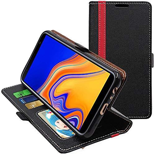 ebestStar - Coque Compatible avec Samsung J4+ Galaxy J415F (2018) Etui PU Cuir Housse Portefeuille Porte-Cartes Support Stand, Noir/Rouge [J4+: 161.4 x 76.9 x 7.9mm, 6.0'']