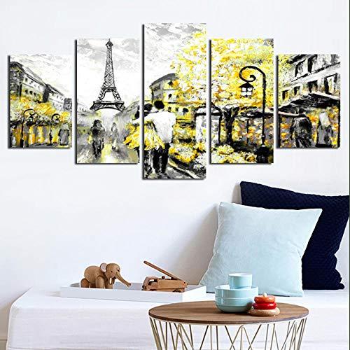 Gxucoa Impresiones sobre Lienzo 5 Piezas Cuadros Torre Eiffel 5 Pieza Cuadro En Lienzo Tejido No Tejido Impresión En Lienzo Decoracion Pared Regalo Creativo