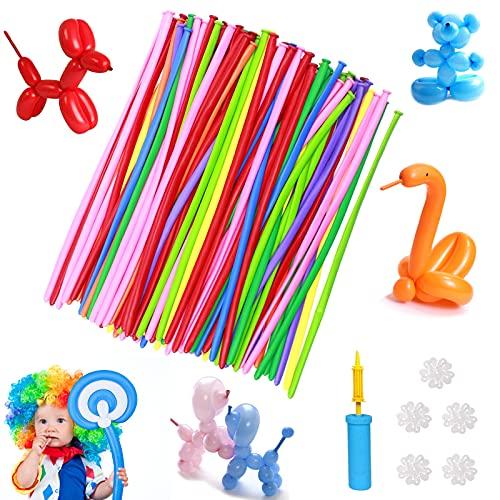200 Stück Modellierballons,Lange Luftballon,Bunt Modellierballons,Magic Luftballons,Lange Verdrehen Ballons mit Luftpumpe, für Geburtstag feiern, Partys, Hochzeiten, Jubiläen