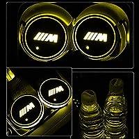 ZTZ カーカップライトマットLEDカーカップホルダー マットパッド LEDカーカップライト1個 (黄色)
