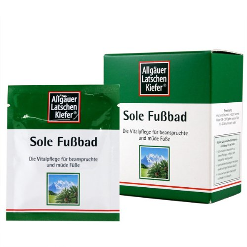 Allgauer LatscehnKiefer Sole FussBad Mineral Foot Bath Salts Packets – Care for Tired Stressed Feet with Arnica Mountain Pine and Siberian Fir, Promotes Healthy Circulation, 10 Grams Each (Box of 10)
