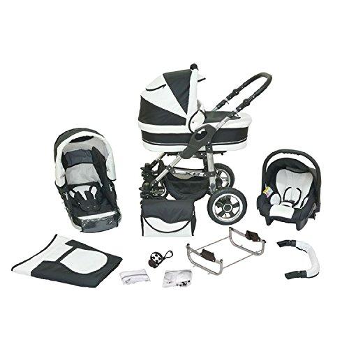 Kombi Kinderwagen Premium 3 in 1 - Kombikinderwagen Buggy schwarz-weiß