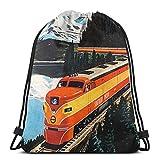 Mochila de viaje para tren y tren del sur del Pacífico de montaña con cordón para deportes, gimnasio, bolsa de viaje para niños, hombres y mujeres