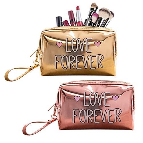 2 Pack LOVE FOREVER Holografische Make-up Tas, Mode Cosmetische Reistas voor Vrouwen (Goud en Roze Kleur)
