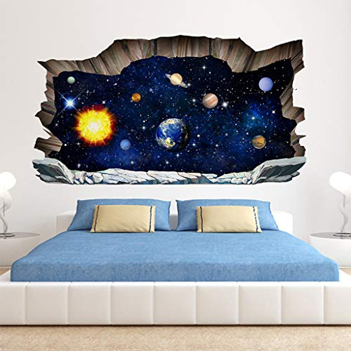 Shenye Wall Sticker Floor Sticker, 3D Broken Wall Space Planet Wall Stickers Floor Stickers Bedroom Living Room Ceiling Decoration Stickers Removable Mural Decals Vinyl Art Room Decor (F)