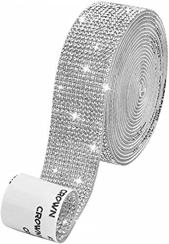 Autoadhesiva de Pegatinas Diamantes de Imitación Cristal Pegatinas de DIY costura con Diamantes de 2 mm para Arte de Manualidades Decoración DIY Coche Móvil Evento (plata 1.06 Pulgadas x3 metros)