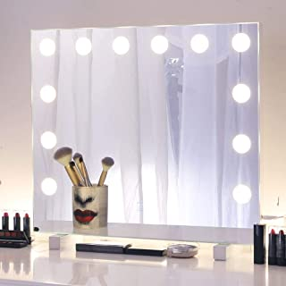 Chende Hollywood Vanity Mirror with 12 LED Lights and Touch Control Dimmer, Lighted Makeup Mirror for Wall Makeup Vanity Bedroom Bathroom, 3 Color Lighting Modes