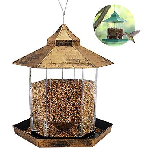 Bestomrogh Hanging Bird Feeder,2.46lb Capacity Waterproof Plastic Wild Bird Food Container with Roof Viewing Window for Outdoor Garden Backyard Patio(Gold)