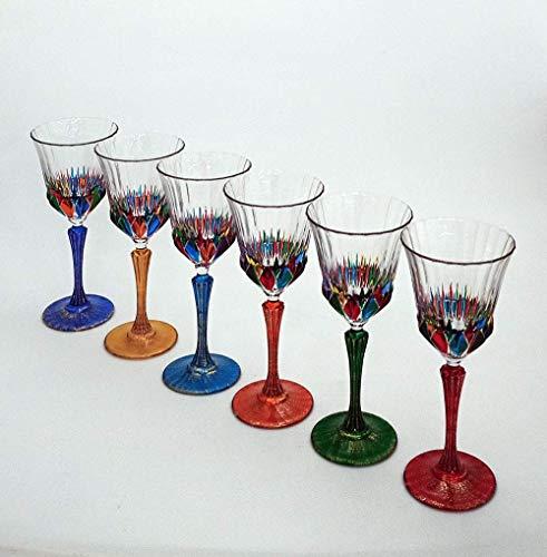 Set von 6 Weinglas Adagio cl. 28 multicolour von Hand bemalt Glas, Murano Venedig Stil