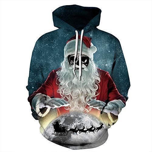 LUOYLYM T-Shirt À Manches Longues Top Jacket Santa Claus Impression Numérique Sweat À Capuche en Automne Et en Hiver pour Femmes Baseball Wear Qydm256 L/XL