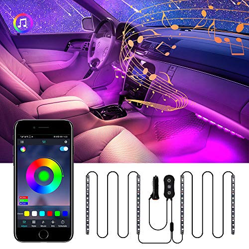 Tsumbay Interior Car Lights, 4pcs 48 LED Strip Lights for car Interior with APP Controller Upgrade IP67 Waterproof Lighting Kits, Multi DIY Color Music with Car Charger Smart USB Port DC 12V