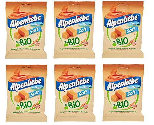 6x Perfetti Alpenliebe Soft Bio Caramelle Morbide Toffee al caramello Bio-Bonbons mit weichem Karamellgeschmack Glutenfrei zuckerfreie Süßigkeiten Lollies 80g Beutel